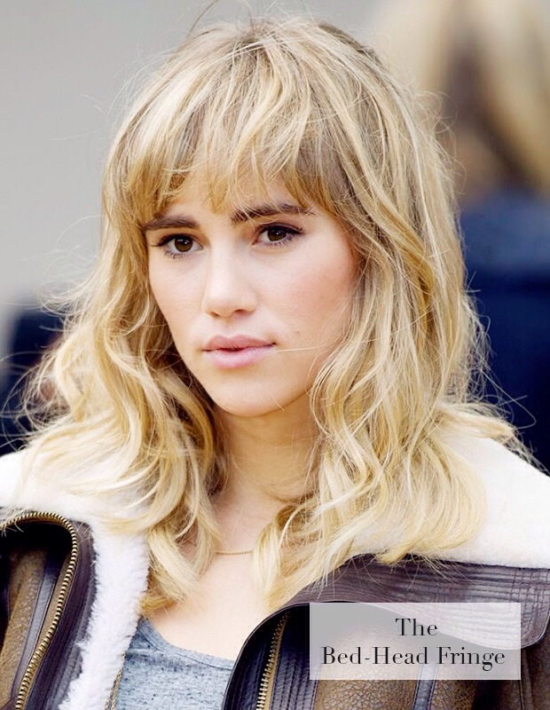 Thick and haphazard, bed-head fringes look especially chic when teamed with model-off-duty tousled tresses - just ask serial mussed-up fringe wearer Suki Waterhouse! This look is all about undone, messy chic, so it's perfect for lovers of purposefully unkempt styles.
