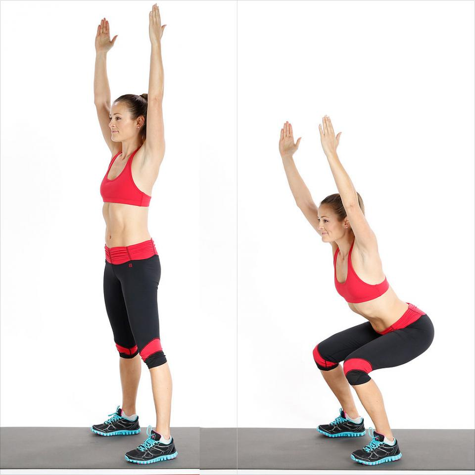 Circuit Two: Squat With Overhead Reach  Reps: 15