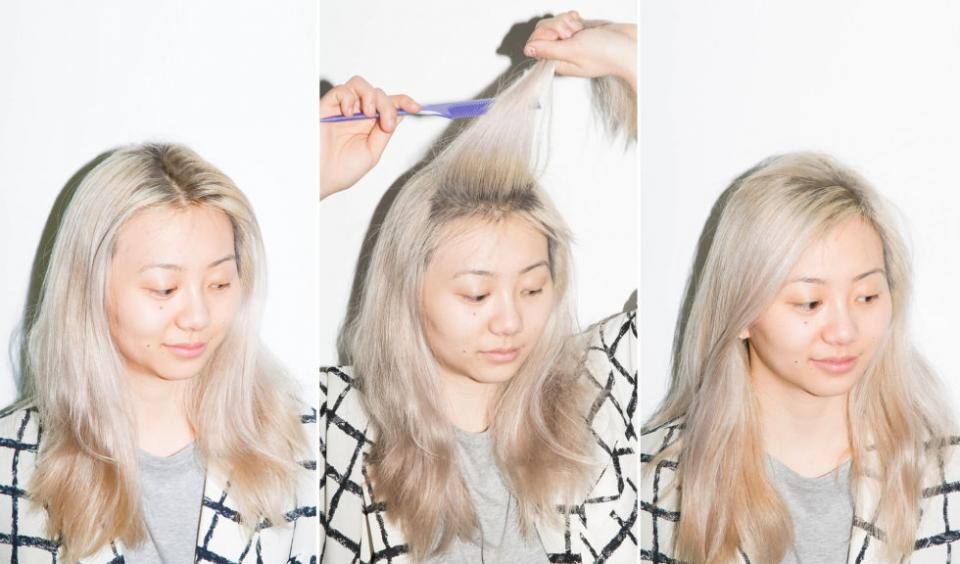 10. If you need a root touch-up but haven't gotten around to getting one, tease your hair at the roots and create a messy side part to help camouflage the overgrowth.