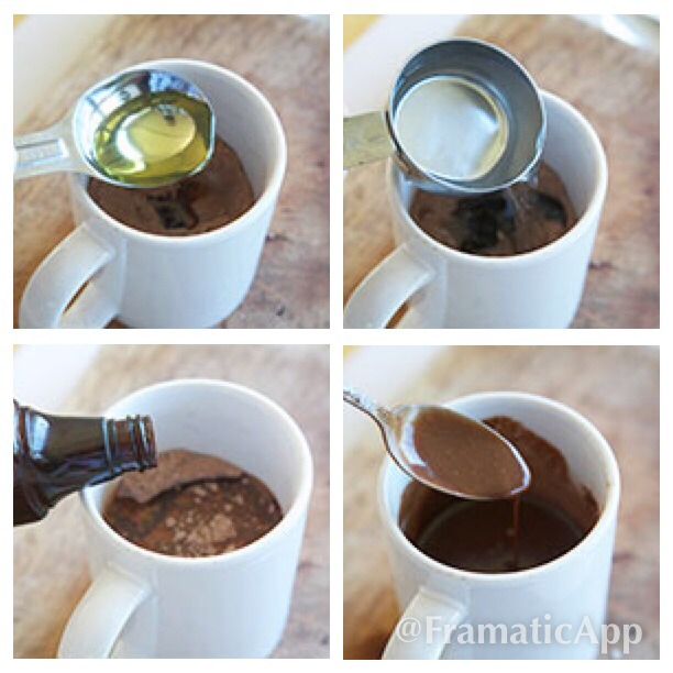 Add the oil, water, and vanilla to the cup and stir until the mixture is smooth and there are no lumps.