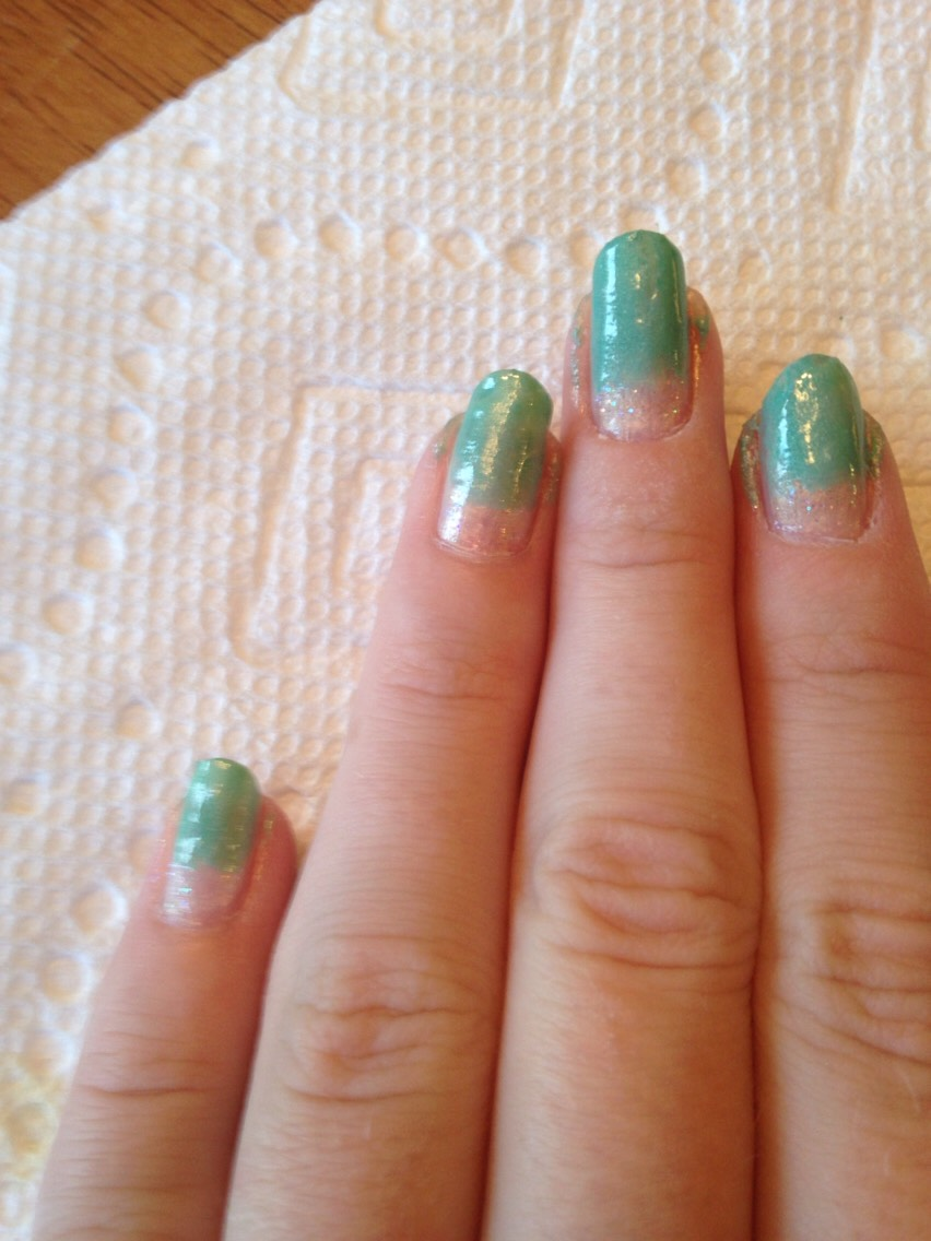 Paint most of the nail teal