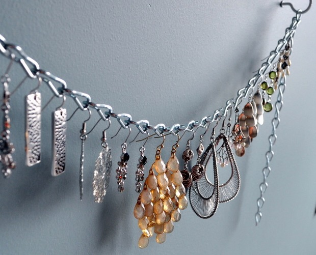 Grab a chain and hang your dangly earrings for a little organization and some flare