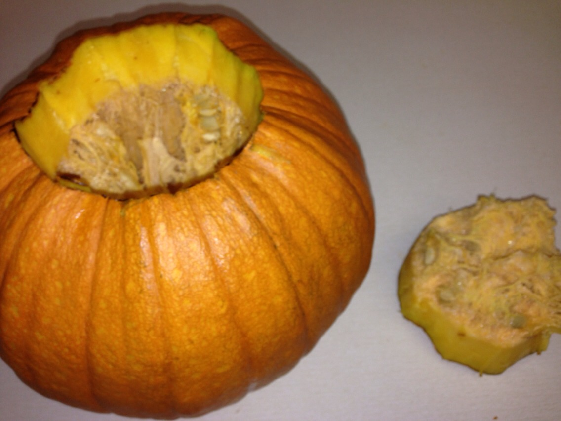 Once you've cut it just clean out the pumpkin !