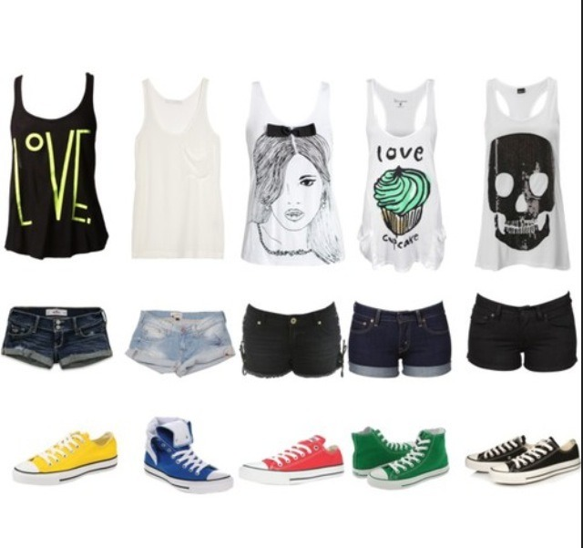 And god knows every woman loves there low-cut bootie shorts along with a beautiful ting-top and matching converse
