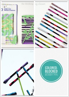 5 | DIY Color-Blocked Bobby Pins  Nail polish makes it easy to make your own personalized hair accessories!