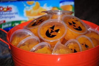 Items needed: Individually Packaged Mandarin orange cups and a sharpie.  Direction: Draw you spooky face and you are done!