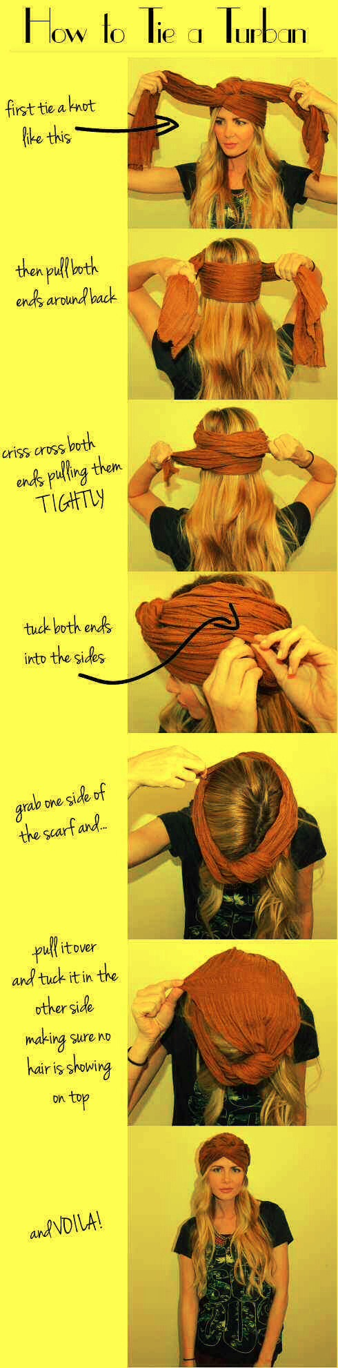 26. Cover a bad hair day with a turban.