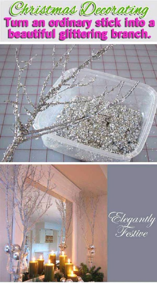 Find any old broken branch and brush on Mod Podge or any strong glue. Then quickly add your glitter, and leave to dry.