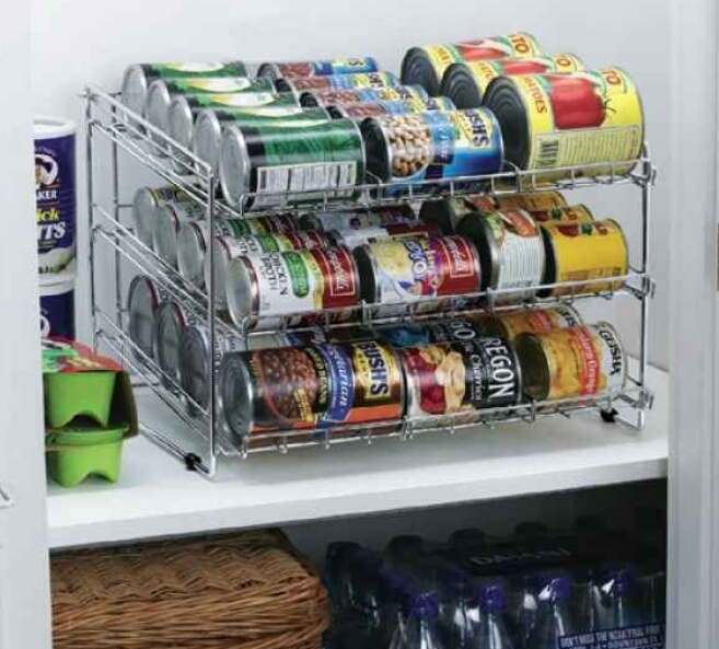 Shelves that are perfect for can storage. ($31.35)  http://www.organize.com/deluxe-chrome-canned-food-storage-rack-wh