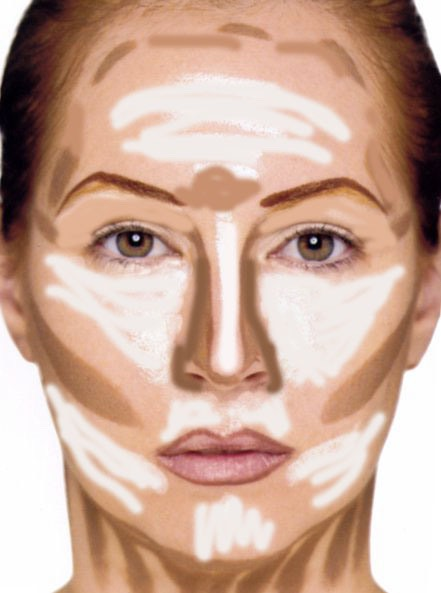 Now I apply bronzer and blush and highlighter. You don't have to put it shown in all of these places I usually just put bronzer in a shape of the number 3 round my face down my cheeks and blush on the top of cheeks and highlighter under eyes and above eyebrows.