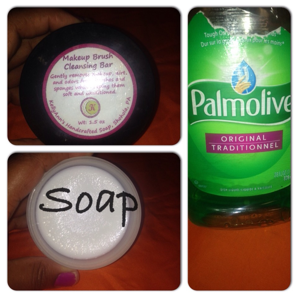 Get a soap of your choice. The above picture is a natural solid soap and a dish liquid. Anyone will work. However, with the dish liquid you will have to wash your brush /sponge several times to ensure that all the soap is out.