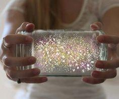 Cut a glow stick and shake the contents into a jar. Add diamond glitter Seal the top with a lid. Shake