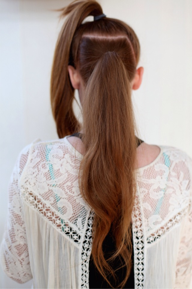 Create two ponytails one directly above the other.