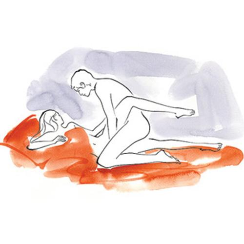 Pretzel Dip How You lie on your right side; he kneels, straddling your right leg and curling your left leg around his left side.  Benefit You get the deeper penetration of doggy style while still being able to make that important eye contact.  Bonus Get your guy to put his hands to work.