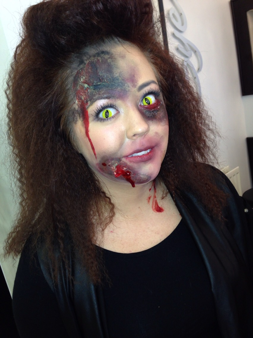 Start by placing the liquid latex where you would like the wounds to be. Apply tissue paper, keep layering up with liquid latex and tissue paper. Wait until dry and rip it slightly to make it look open. Start with dark colours like brown and blacks, blend out to dark greens and reds.
