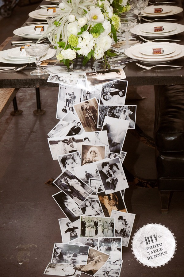 This is such a fun way to display photos at a wedding or event, and also a fabulous conversation starter!