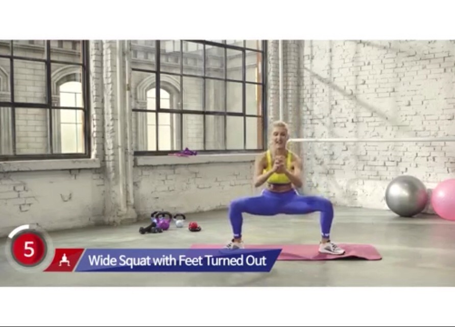Feet turned out And squat The more you squeeze the better For 30 sec