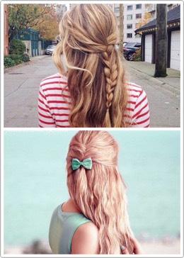 the half-up braid pull the front section of your hair back, the braid it down the back. you can also do a small fishtail and end it partway.waves or curls are optional.