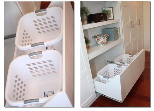Stash your laundry hampers in extra deep drawers.