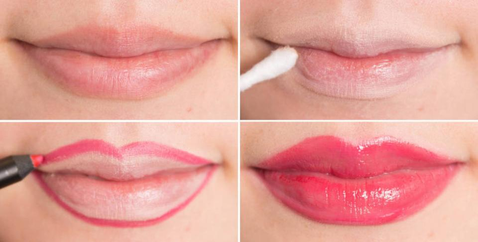 15. Reshape your lips by first covering them with concealer and then tracing just slightly outside your natural lip line with a lip liner pencil. Continue to fill in your lips with the pencil for a matte look or finish with a gloss.