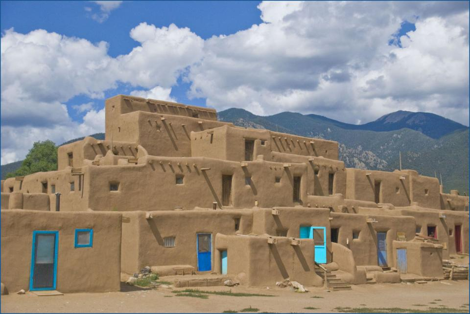 Taos—Taos Pueblo is an ancient pueblo belonging to a tribe of Pueblo people. It's approximately 1,000 years old and sits just north of the modern city of Taos, N.M. It is considered one of the oldest continuously inhabited communities in the United States.
