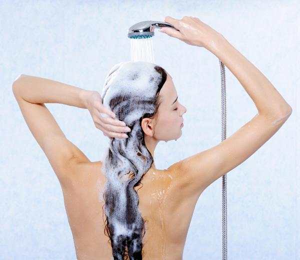wash hair with shampoo and conditioner and let air dry.