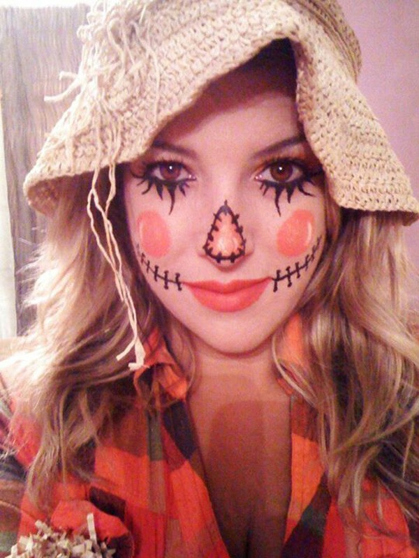 Need a last minute cosutme? Slip on your plaid and a straw hat. Then just put extra make up and use some eye liner to draw the lines. Easy peasy lemon squeezy