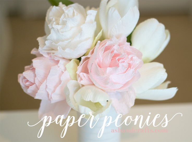 Learn how to create pretty paper peonies at http://www.ashandcrafts.com/paper-peony
