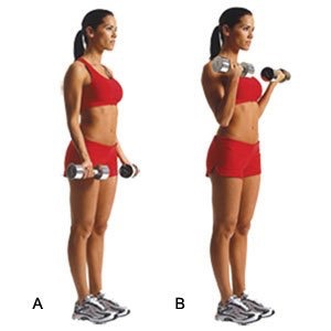 20 bicep curls with the weight of your choice