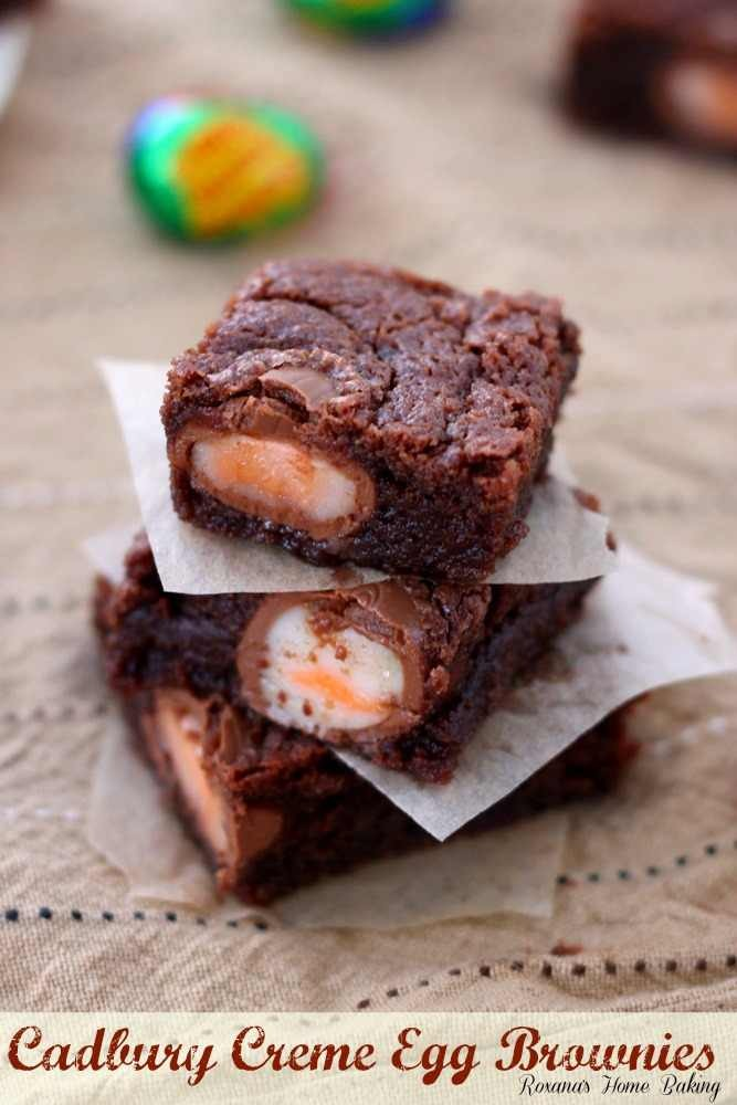 Simple- mix your fav brownie mix. Put half of mixture in pan and then strategically place creme or caramel eggs and top with rest of brownie mix and bake as normal