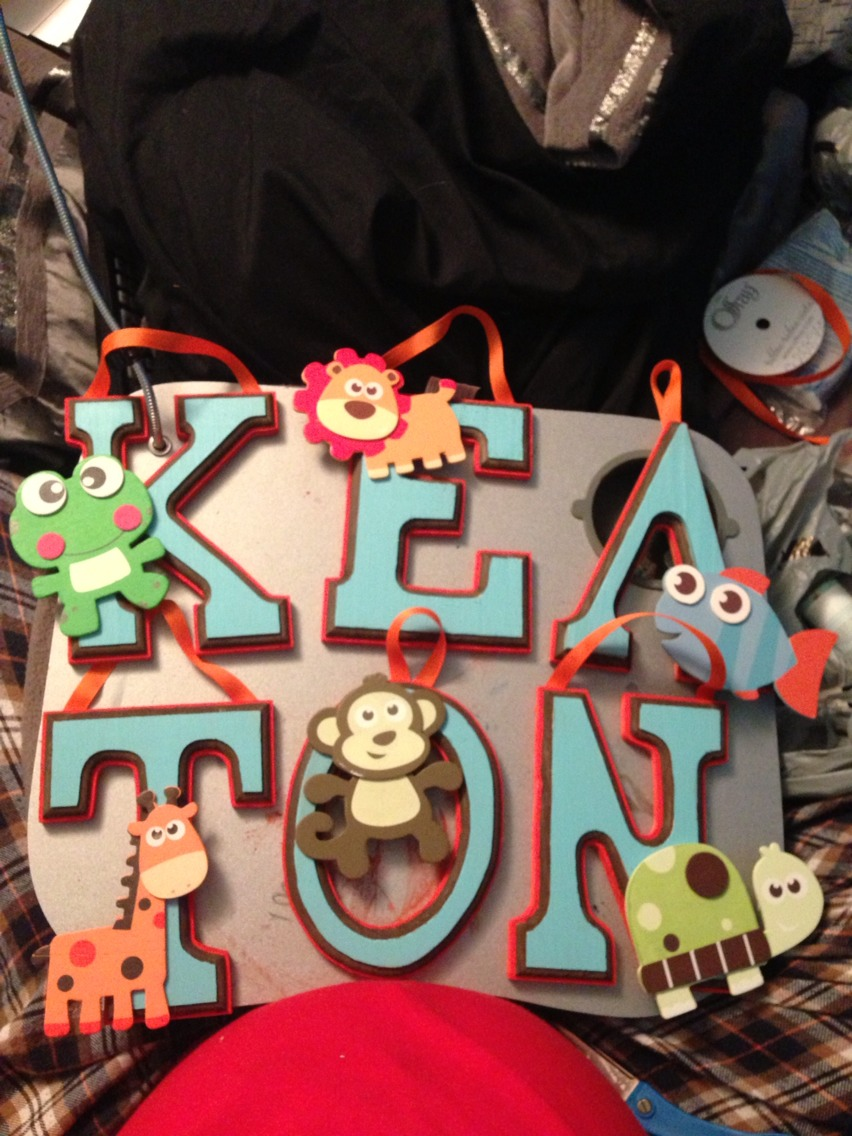 Cut out or buy the letters you want and paint them however you like, I made mine really simple without patterns but used 3 layers of colour, then hot glue gun some string behind them, and you can put on any shapes or stickers you want!! :)