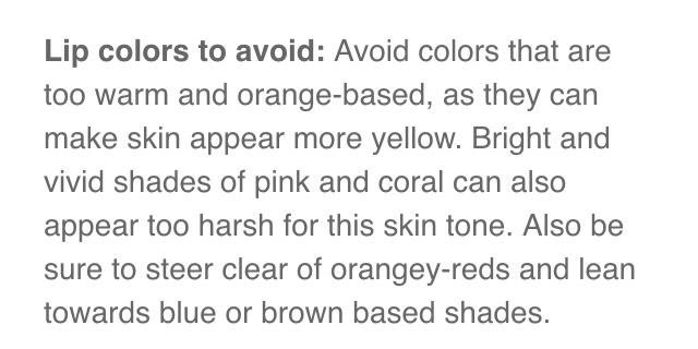 """Lipsticks to avoid for """"Olive Skin"""""""
