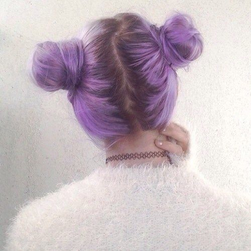 20. Two Buns Soft Grunge Hair Purple Hairstyle:
