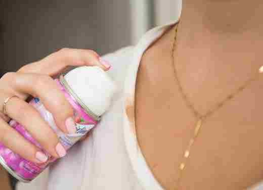 6. Fix foundation stains with a little bit of shaving cream.    If you take off your shirt and accidentally smudge your makeup on the collar, just wipe a dollop of shaving cream on the spot to pretreat it before tossing it in the wash.