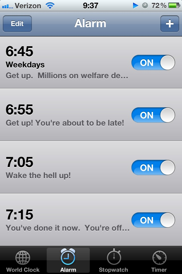 Set several alarms.