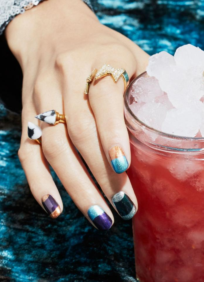 """Try metallic shades from Yves Saint Laurent La Laque Couture Nail Polish in """"Dore Orferve,"""" $25; Nuance by Salma Hayek in """"Petal Pearl,"""" $6; Nars Limited Edition Nail Polish in """"Sherwood,"""" $20; Revlon Nail Polish in """"Bohemian 585,"""" $5; and O.P.I. Nail Lacquer in """"My Signature is DC,"""" $10."""