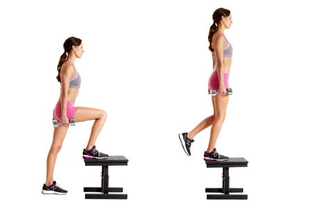WEIGHTED STEP-UP: seriously 100x better than stairs. Plant your foot on either a plyo box, bench, or stackable steppers (at least 3 high) and step up using only the top foot (don't push off with the bottom one!). Come down SLOWLY without dropping yourself. Do 10, then switch legs (20 total).