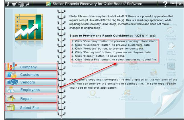 Step 2: After selecting the corrupt .qbw files. Click on 'Scan File' button to begin the scanning process.