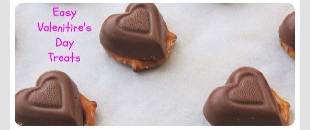 Place a chocolate heart or Hershey's kiss on a pretzel and place in a 350 degree Celsius oven for 7 minutes until the chocolate is soft and almost melted.
