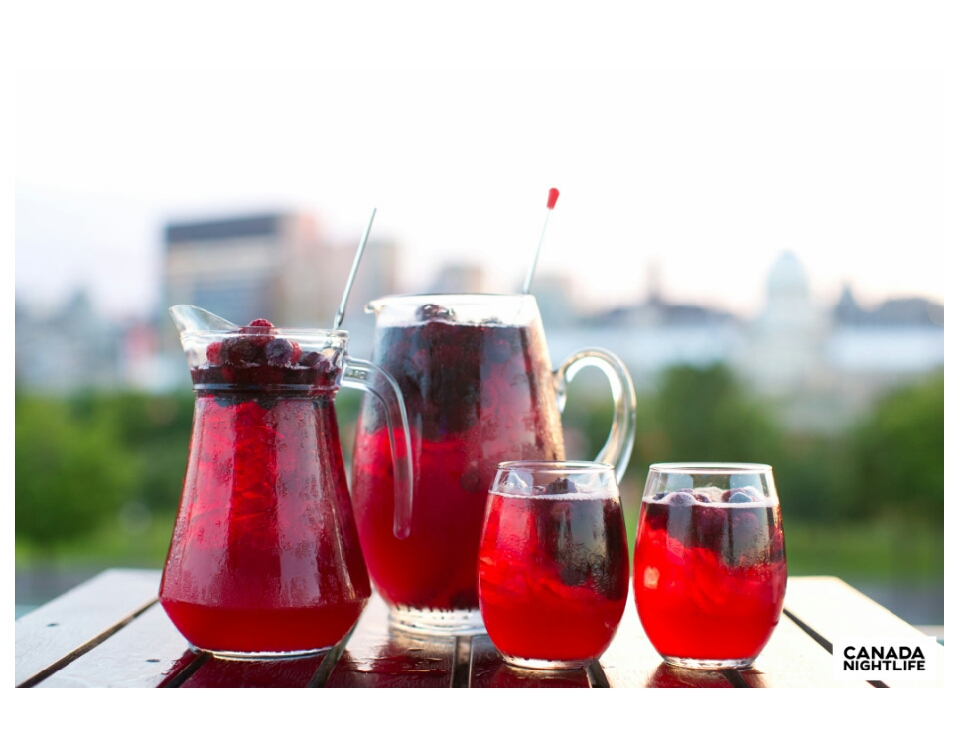 THE BONSECOURS SANGRIA  Ingredients: 1/3 ice, 1/3 Red wine, 1/3 pineapple juice mixed with Sprite, 2 oz Grand Marnier, 1.5oz Brandy, and garnished with raspberries.