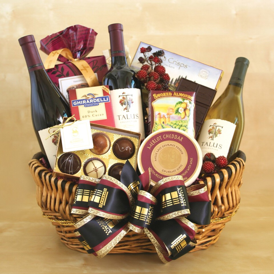 Wine and sweets gift basket