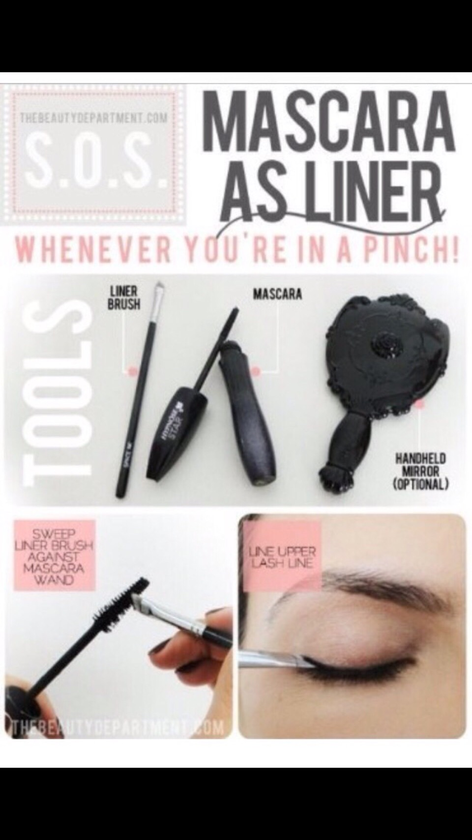 Did you're eyeliner run out or is it too hard or even if you don't have one. Just use your mascara and a liner brush to substitute😱💯