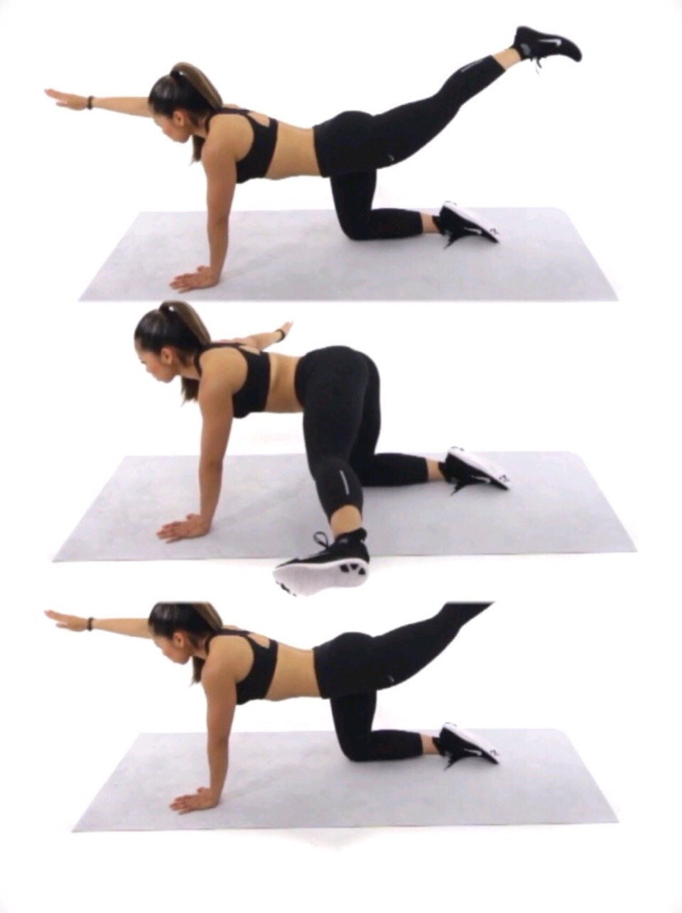 "This move is called, ""Wag Your Tail"" - you start by getting on all 4's, and extending one arm and one leg - move the arm and leg outwards farthest from you.  - do each leg/arm 30 times or more if you'd like."
