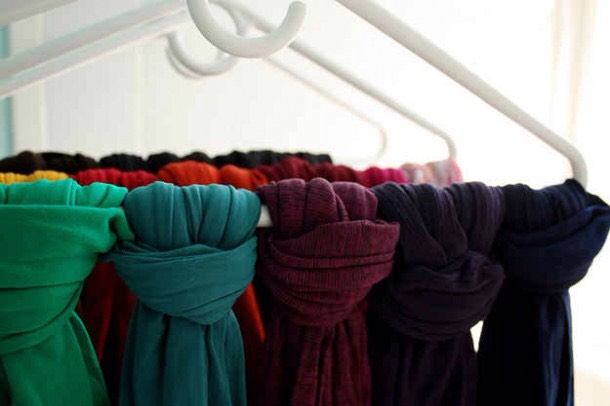 Have too many scarves and they're all just laying around?  Tie them up on a hanger to keep them organized.