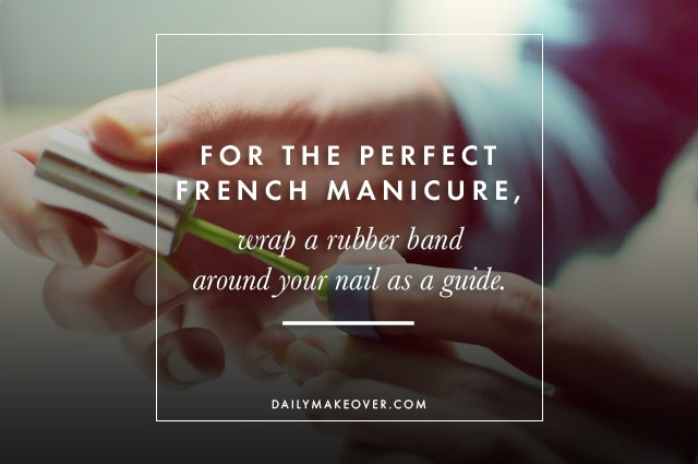 16. For the perfect French manicure, wrap a rubber band around your nail as a guide.