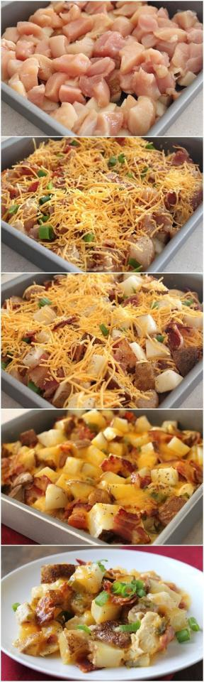 Sliced potatoes, baked chicken breasts, bacon, & cheesy topping.