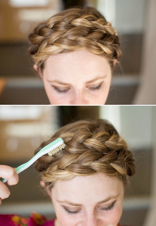 3.Texturize milkmaid braids with a teasing brush or toothbrush.  French maid braids look best whenroughed up a little to achieve that lived-in look. To get that effect instantly, take a teasing brush or a toothbrush, & texturize the braids by brushing them against the way they've been braided.