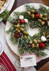 Edible Christmas wreath with olives