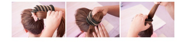 First tie up your hair in a secure ponytail the height you want and pull the sock all the way through.