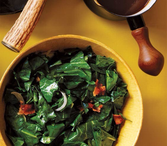 Collard Greens With Bacon Cook the sliced shallots and greens in the bacon drippings to infuse the dish with savory richness.  http://www.realsimple.com/food-recipes/browse-all-recipes/collard-greens-bacon-00100000075510/index.html